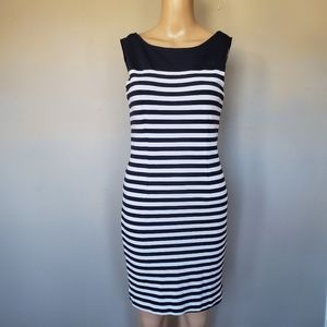 Banana Republic black white striped midi dress